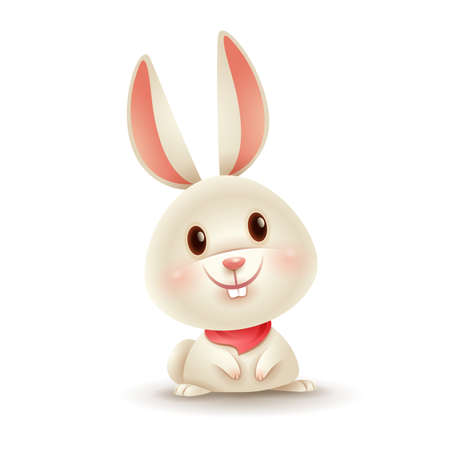 Vector illustration of little cute bunny. Isolated. 矢量图像