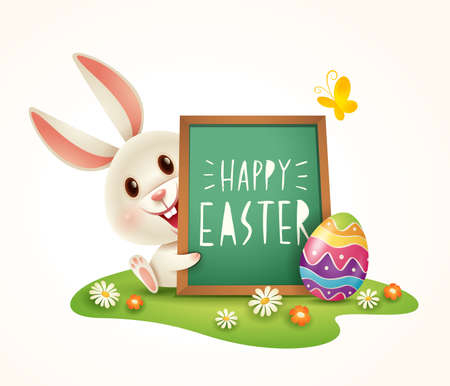 Easter bunny with Happy Easter with signboard on grass. Isolated. 向量圖像