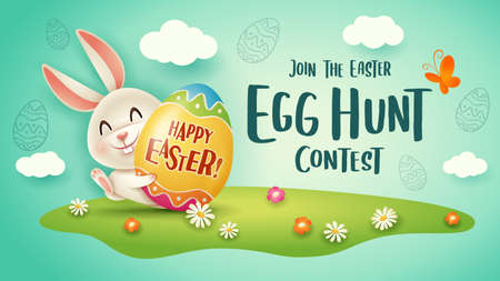 Happy Easter egg hunt contest. Easter festival background with bunny and eggs on grass. 矢量图像