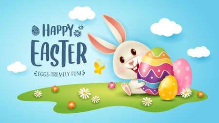 Happy Easter! Easter festival background with bunny and eggs on grass.