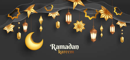 Ramadan Kareem paper graphic of islamic festival design with crescent moon and islamic decorations.