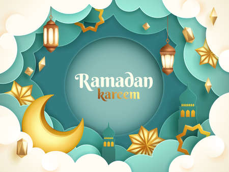 Eid Mubarak paper graphic of islamic festival design with crescent moon and islamic decorations.