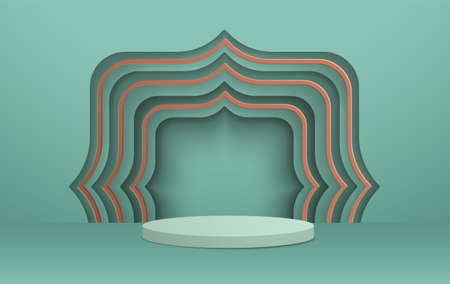 3D illustration of classic teal theme podium scene with geometic pattern for display products and cosmetic advertising. 向量圖像