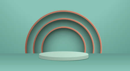 3D illustration of classic teal theme podium scene for display products and cosmetic advertising. 矢量图像