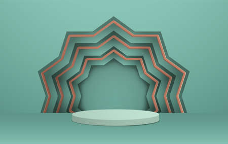 3D illustration of classic teal theme podium scene with geometic pattern for display products and cosmetic advertising. 矢量图像