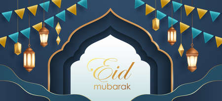 Eid Mubarak classic blue paper graphic of islamic festival background with party flag and islamic decorations.