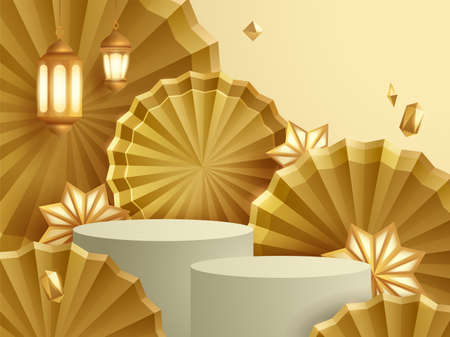 3D illustration of golden theme product display and cosmetic advertising background with podium and paper fan.
