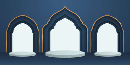 3D illustration of classic blue theme podium scene with islamic pattern for display products and cosmetic advertising. 矢量图像