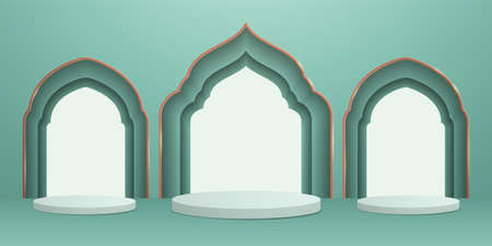 3D illustration of classic teal theme podium scene with islamic pattern for display products and cosmetic advertising.