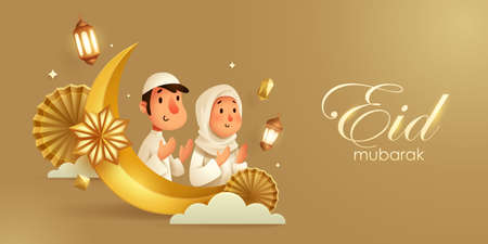 3D illustration of Eid Mubarak golden Islamic festival background with Muslim prayer, crescent moon and islamic decorations. 向量圖像