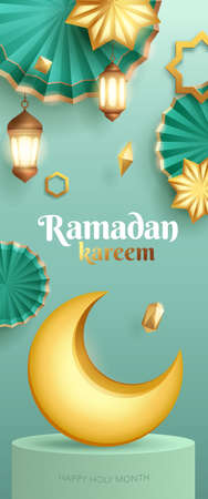 3D illustration of Ramadan Kareem classic teal theme Muslim Islamic festival with crescent moon and islamic decorations. Vertical banner.