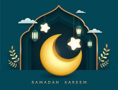 Ramadan Kareem paper graphic of islamic festival design with crescent moon, mosque window and islamic decorations. 矢量图像