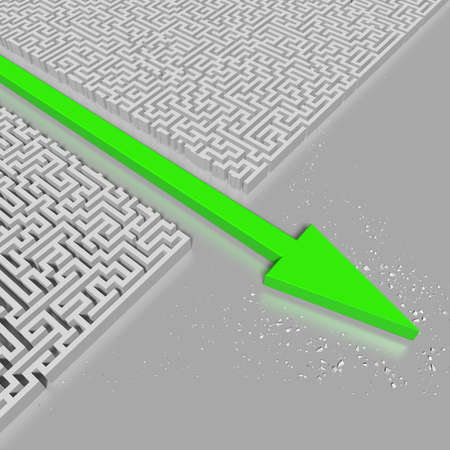 shortcut: Green arrow breaking through complex maze on reflective ground  Symbol of power and original thinking  High resolution 3d rendering