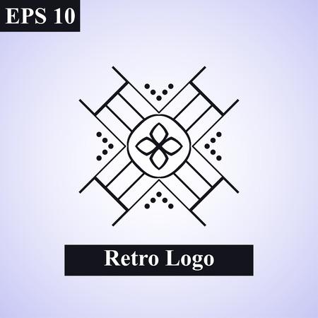 Vintage ornamental islamic vector emblem. Floral design element. Art deco geometric symbol. Line insignia, logotype. Luxury logo template. Arabic, oriental motifs. Business sign, decor