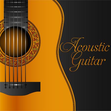Acoustic guitar album cover vector illustration. Ilustração