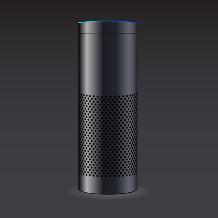 Black Smart Speaker illustration on black background.