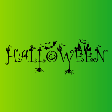 Halloween calligraphy banner on green background.