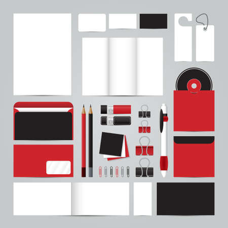 corporative: Corporate concept identity template set. Business stationery mock-up. Branding design. Letter envelope, card, catalog, pen, pencil, badge,  letterhead, usb flash drive, disk. Illustration
