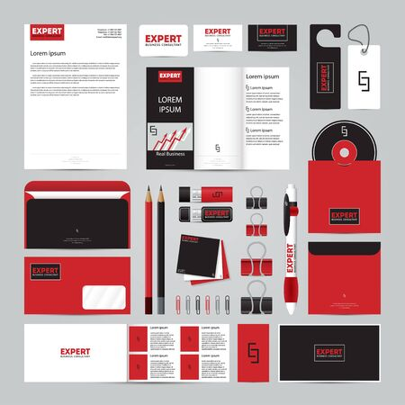 Corporate concept identity template set. Business stationery mock-up. Branding design. Letter envelope, card, catalog, pen, pencil, badge,  letterhead, usb flash drive, disk. Illustration