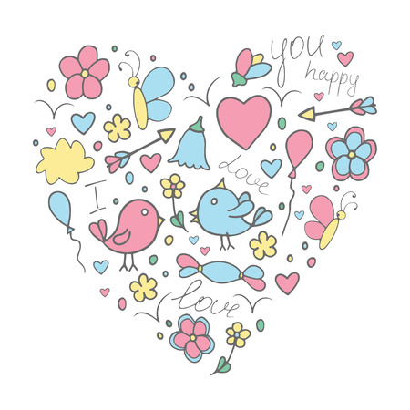 Romantic hand drawn concept in love with birds. Fantasy cartoon, doodle set with hearts. Children's painting drawings Ilustração