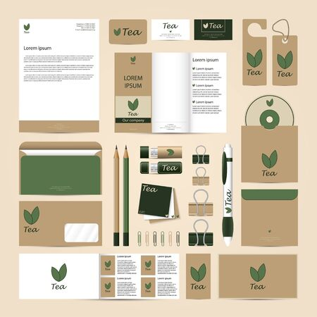 Corporate concept identity template set. Eco Tea stationery mock-up. Branding blank documents design. Letter envelope, card, catalog, pen, pencil, badge,  letterhead, usb flash drive, disk.