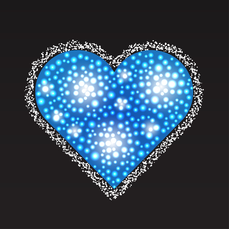 pearly: Elegant blue heart composed from small pearls. Love romantic Valentine art. Valentines Day vector illustration.