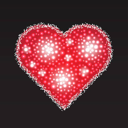 pearly: Elegant red heart composed from small pearls. Love romantic Valentine art. Valentines Day vector illustration. Illustration