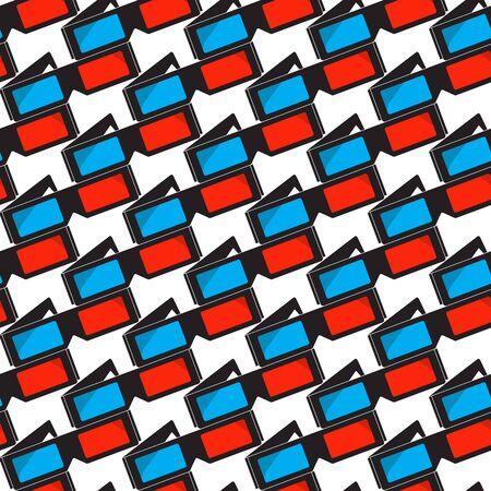 stereoscopic: 3d cinema glasses, seamless pattern Illustration