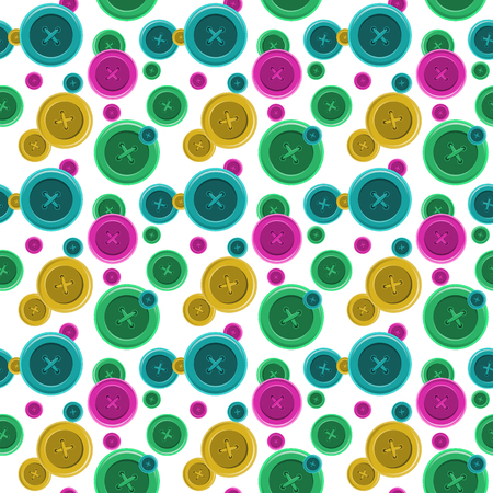 buttons sewing: Buttons sewing seamless pattern Illustration