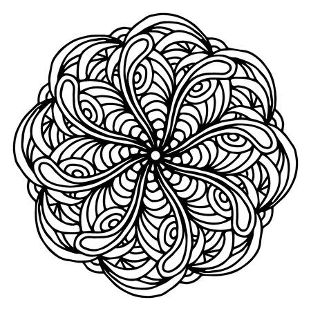 Verwonderend Hand Blad Tekenen Doodling Mandala Kleurplaat Geïsoleerde Royalty EY-74