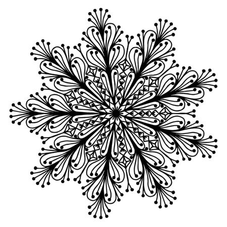 doodling: Hand drawing doodling mandala coloring page isolated