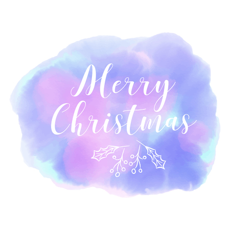 blured: Merry Christmas. Winter. Abstract blured blue background watercolor style