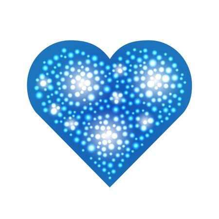 Elegant blue heart composed from small pearls. Love romantic Valentine art. Valentines Day illustration.