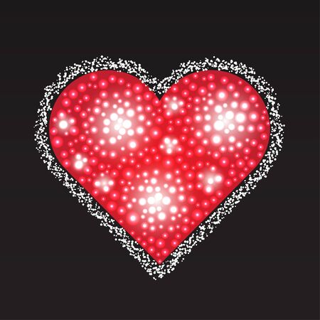 Elegant red heart composed from small pearls. Love romantic Valentine art. Valentines Day illustration.
