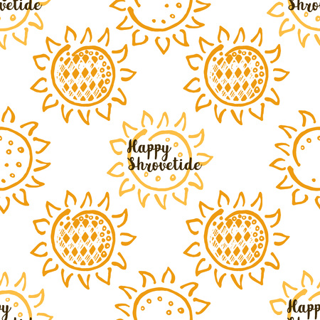 Shrovetide traditional russian festival seamless pattern Ilustrace