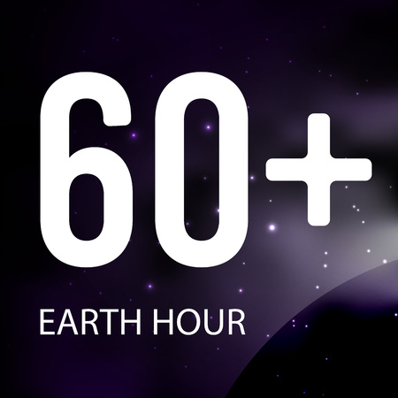 Earth hour, space, stars vector illustration on dark blue background. Vectores