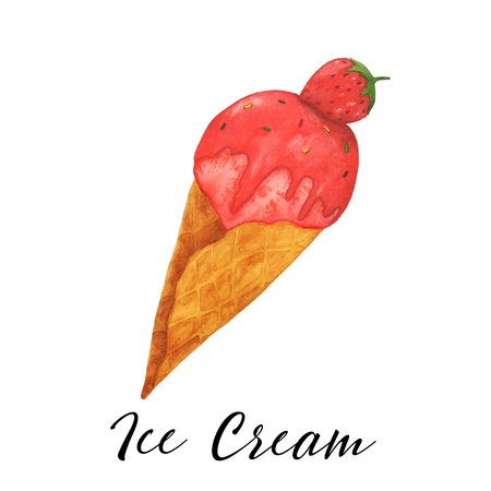 Ice cream watercolor sweet dessert  isolated food illustration Stock Photo
