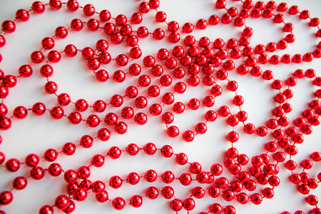 Red Christmas beads Stock Photo