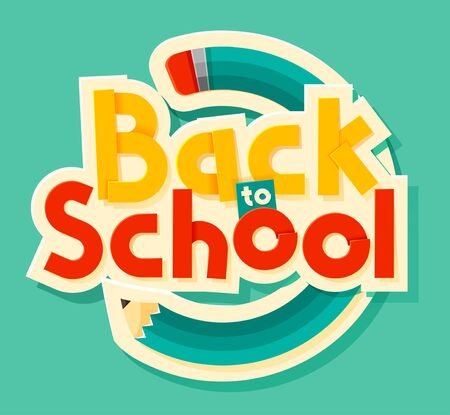 Back to school lettering. Can use for advertisements, marketing, web, social media or related material presentation. Vector illustration Illustration