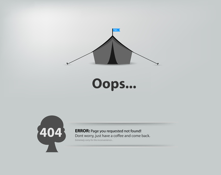 page not found: Page not found, 404 error. 404 connection error. Illustration