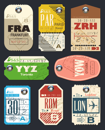 Airline-tags. Checklist voor reizigers. Vintage Luggage Tags. Vector Stock Illustratie