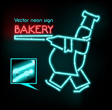 neon sign: Vector neon sign bakery