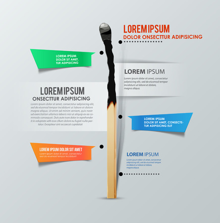 burned: Infographics template with burned match. Report template. Vector illustration