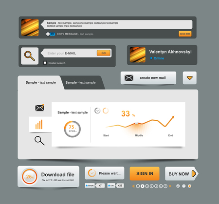bussiness time: UI Elements Design grey, Web site design, Bussiness