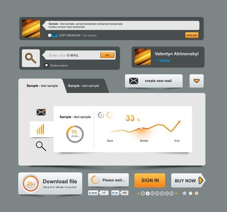 bussiness time: UI Elements Design grey, Web site design, Bussiness