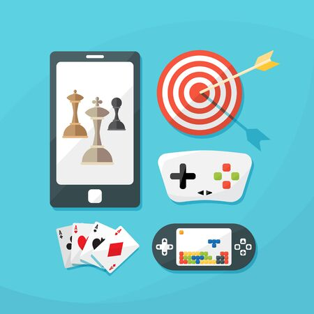 portable console: Flat icons set of gaming. vector illustration. Concept icons for web and mobile phone