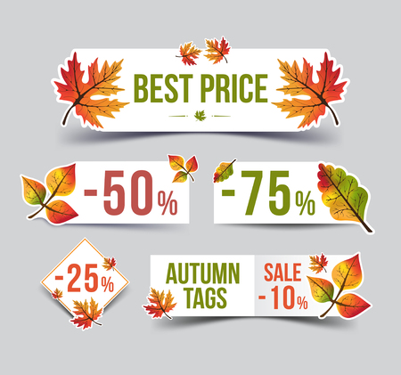 Autumn sticker. Autumn Sale set. Vector Illustration. Discount. Sale Stickers