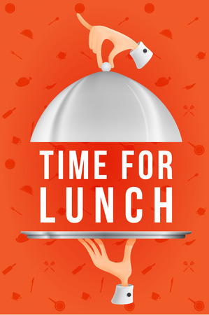 breakout: Time for lunch. template design. Illustration