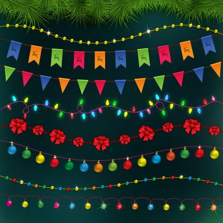 celebratory: Set for Celebratory Design. Christmas Decorations set, Vector illustration