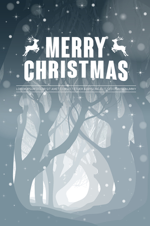 snowcovered: Christmas poster with a picture of a snow-covered forest. Vector illustration.